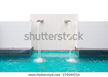Swimming pool with water shower wall, isolated on white - stock photo