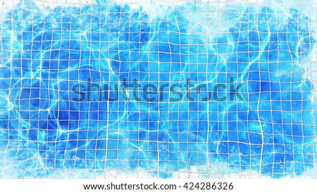 swimming pool with watercolor techniques. - stock photo