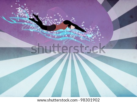 Swimming woman background with space (poster, web, leaflet, magazine)
