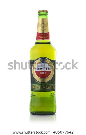 SWINDON, UK - APRIL 10, 2016:Amstel Premium Bier is an internationally known brand of beer produced by Heineken International in Zoeterwoude, Netherlands - stock photo