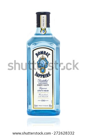 SWINDON, UK - APRIL 2, 2015: Bottle of Bombay Sapphire Gin on A White Background - stock photo