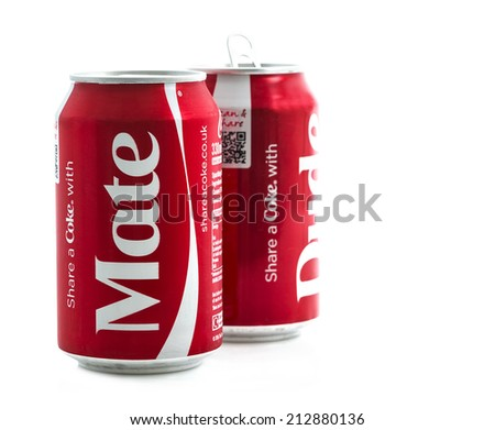 SWINDON, UK - AUGUST 10, 2014: Coca-Cola Cans with Share A Coke with Mate and Dude on a white background - stock photo