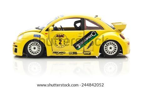SWINDON, UK - DECEMBER 14, 2014:  VW Beetle in Race Trim  Die cast model  on a white background. - stock photo