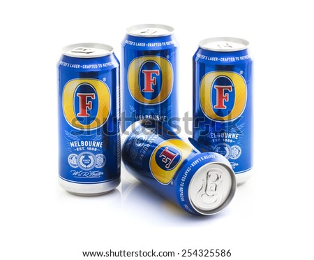 SWINDON, UK -FEBRUARY 20, 2015: Four Cans of Foster's Lager of a White Background