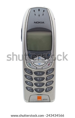 SWINDON, UK - JANUARY 12, 2015: A vintage Nokia 6310 Mobile Phone On a White background. Nokia is a Finnish communications and information technology corporation.  - stock photo