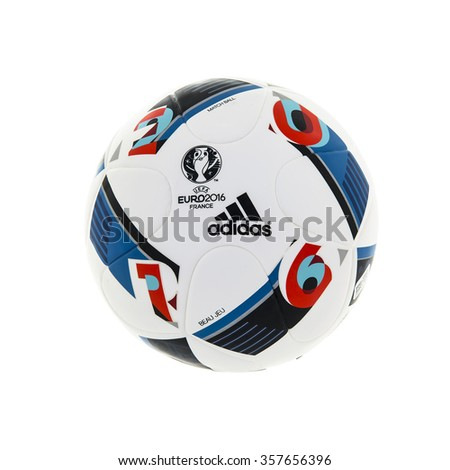 SWINDON, UK - JANUARY 2, 2016: Adidas BEAU JEU official Match Ball for the UEFA EURO 2016 football tournament in France  - stock photo