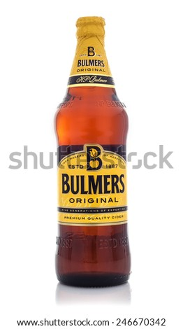 SWINDON, UK - JANUARY 24, 2015: Bottle Of Bulmers Original Cider on a White Background,  Bulmers owned by H. P. Bulmer of Hereford. It is one of the leading British cider brands in the UK - stock photo
