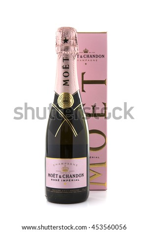 SWINDON, UK - JULY 11, 2016: A bottle of M�¶et & Chandon Ros�© Imperial champagne on a white background