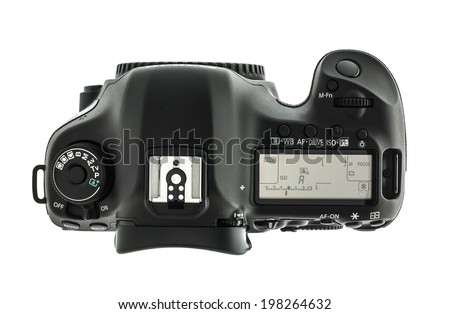 SWINDON, UK - JUNE 12, 2014:Top View oF a Canon 5D Mark III DSLR on a White background
