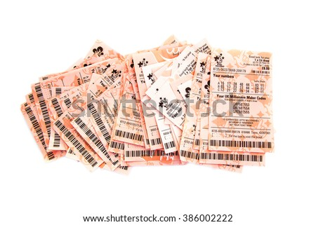 SWINDON, UK - MARCH 4, 2016: A row of Losing lottery tickets on a white background - stock photo