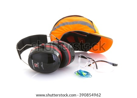 SWINDON, UK - MARCH 15, 2016: Orange Bump Cap Safety Hat with Ear Defenders, Ear Plugs and safety glasses on a White Background - stock photo