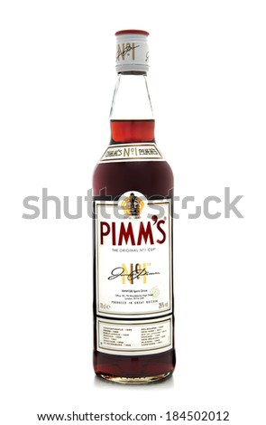 SWINDON, UK - MARCH 30, 2014: Pimms the original No 1 cup on a white background - stock photo