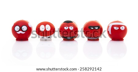 SWINDON, UK - MARCH 3, 2015: Red Nose Day - Collection of Red Noses for the Comic Relief fund-raising day on 13 March 2015 - stock photo
