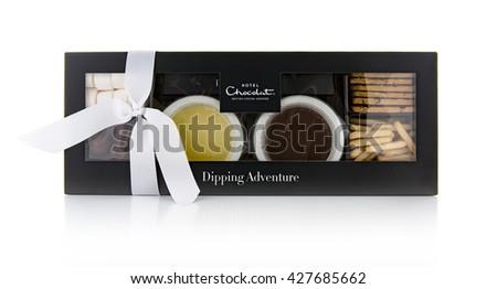 SWINDON, UK - MAY 28, 2016: Hotel Chocolat Dipping Adventure, British Cocoa Grower - stock photo