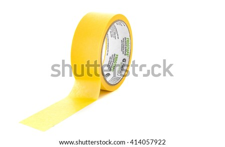 SWINDON, UK - MAY 2, 2016: Roll of Frogtape painters masking tape on a white background