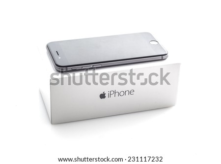 SWINDON, UK - NOVEMBER 15, 2014: Apple iPhone 6S in Space Gray with box on a white background, the iPhone 6S is the new addition to the iPhone family - stock photo