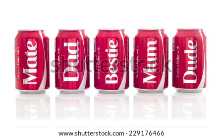 SWINDON, UK - NOVEMBER 9, 2014: Five Cans of Coca-Cola, share a Coke With Mum, Dad, Mate. Bestie and Dude on a white background produced for the 2014 Share a Coke promotion - stock photo