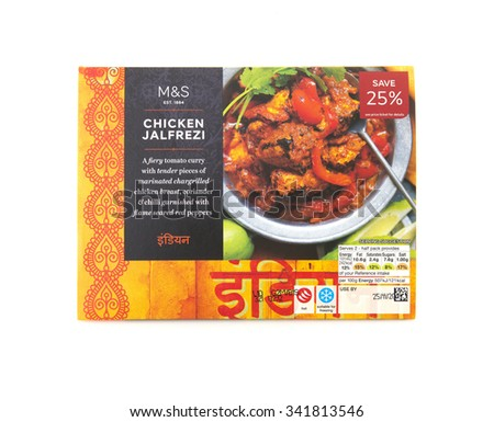 SWINDON, UK - NOVEMBER 21, 2015:  Marks And Spencer Chicken Jalfrezi Curry, Indian Take Away Curry on a White Background  - stock photo