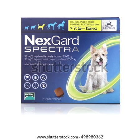 SWINDON, UK - OCTOBER 15, 2016: Nexgard Spectra for dogs on a white background