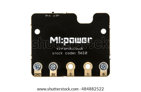 SWINDON, UK - SEPTEMBER 18, 2016: MI:Power board for the BBC Micro Bit, The micro:bit is a handheld, fully programmable computer being given free to every Year 7 or equivalent child across the UK