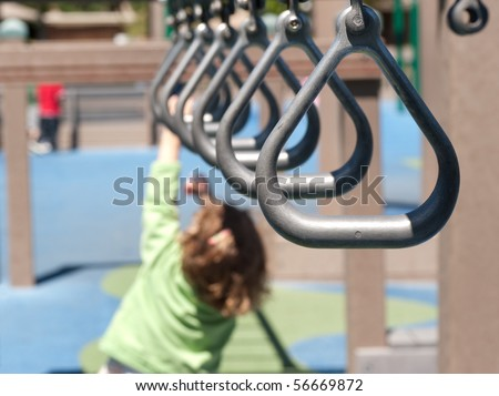 swing bar handles in a row - stock photo