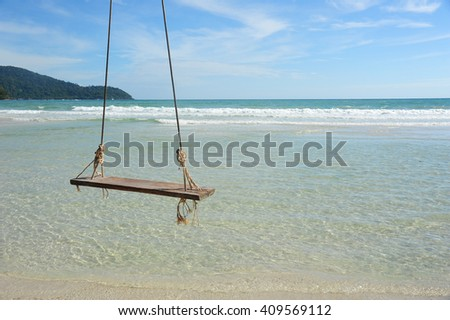 swing chair on the beach  Thailand - stock photo