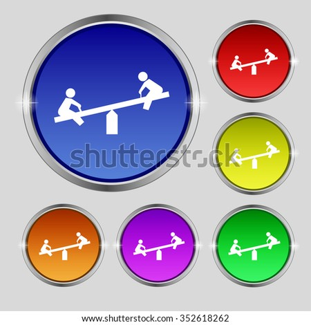 swing icon sign. Round symbol on bright colourful buttons. illustration - stock photo