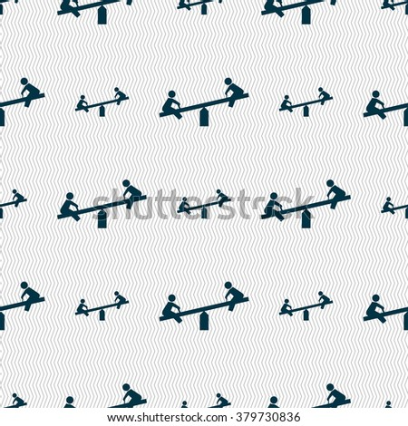 swing icon sign. Seamless pattern with geometric texture. illustration - stock photo