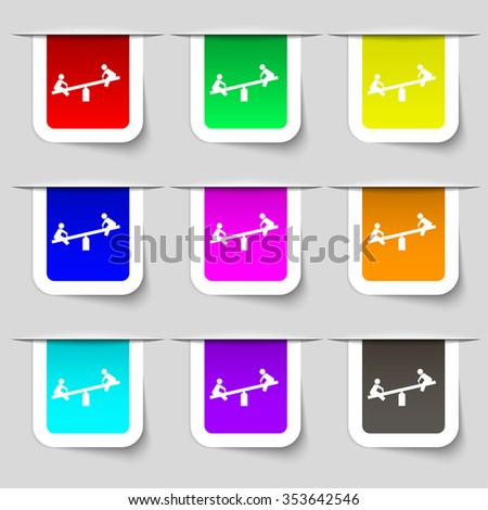 swing icon sign. Set of multicolored modern labels for your design. illustration - stock photo