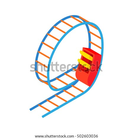 Swing roller coaster icon in cartoon style isolated on white background. Entertainment symbol  illustration