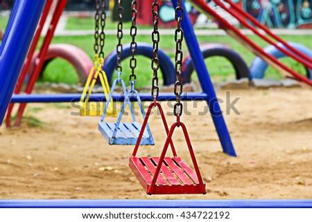 Swing-set at Playground - stock photo