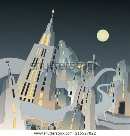 Swinging city by night - Abstract illustration of a big city with skyscrapers - stock photo