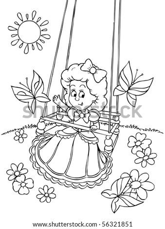 Swinging girl - stock photo