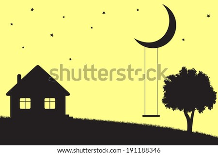 Swings hanging from moon, house and tree silhouettes - stock photo