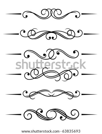Swirl elements and monograms for design and decorate. Vector version also available in gallery - stock photo