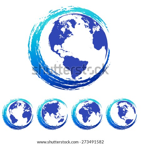 Swirl Global Earth World Icon Symbol Concept- Raster Version - stock photo