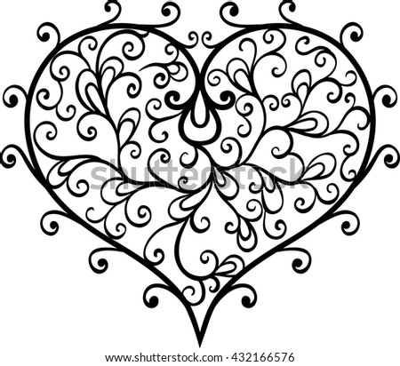 Swirl vector  heart isolated. Black and white.  - stock photo