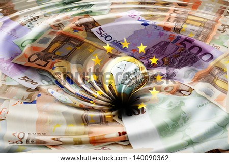 Swirl with Euros and EU-Stars - stock photo