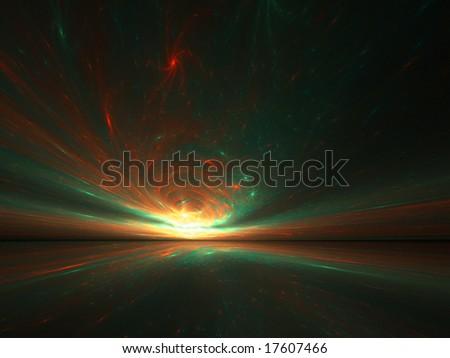 Swirled Galaxies Horizon - 3D fractal Illustration - stock photo