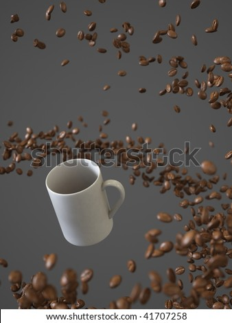 Swirling coffee beans and espresso cup