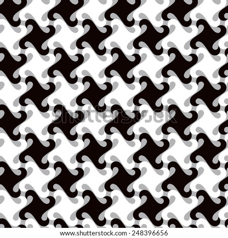 Swirly abstract pattern in black, white and grey repeats seamlessly. - stock photo