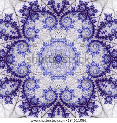 Swirly fractal flower, digital artwork for creative graphic design - stock photo