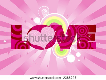 Swirly-patterned heart adorns the word LOVE - stars, stripes and curly-cue elements in the background - stock photo