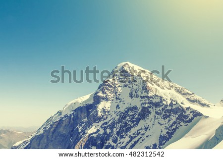 Swiss Alps mountain landscape, Jungfraujoch, Switzerland, vintage effect