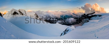 Swiss Alps panorama - stock photo