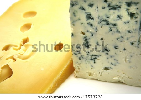 swiss and roquefort cheese close up - stock photo