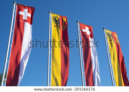 Swiss banners - stock photo
