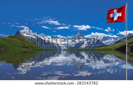 Swiss beauty, Schreckhorn with Wetterhorn  from Bachalpsee lake level