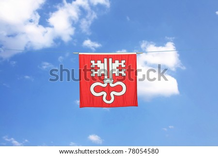 Swiss Canton Flag Series: Canton Niederwalden: The double key is the key of Saint Peter - stock photo