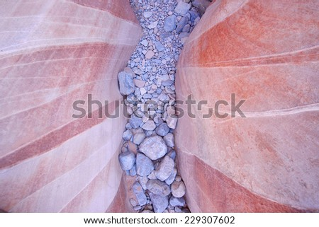 swiss cheese pattern from red stripe on sandstone, taken from valley of fire state park in Nevada - stock photo